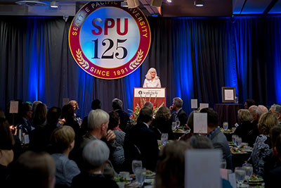 Louise Furrow address the audience at the 2016 SPU President's Circle Dinner