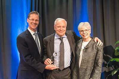 SPU President Dan Martin with 2017 President's Award for Philanthropy winners Dennis and Beth Weibling