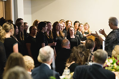 The choir sings at the 2017 President's Circle Dinner
