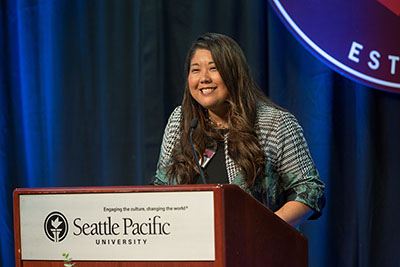SPU University Chaplain Lisa Ishihara speaks