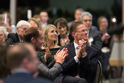 The audience applauds at the 2018 SPU President's Circle Dinner