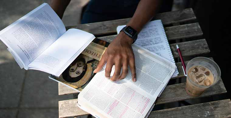 Student studying scripture