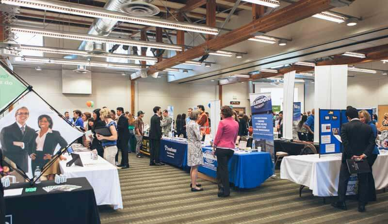 Career fair in Upper Gwinn Commons, hosted by the CCC
