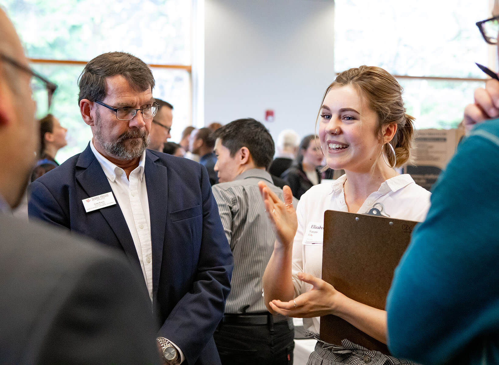 An SPU business student networks with local employers | photo by Lynn Anselmi