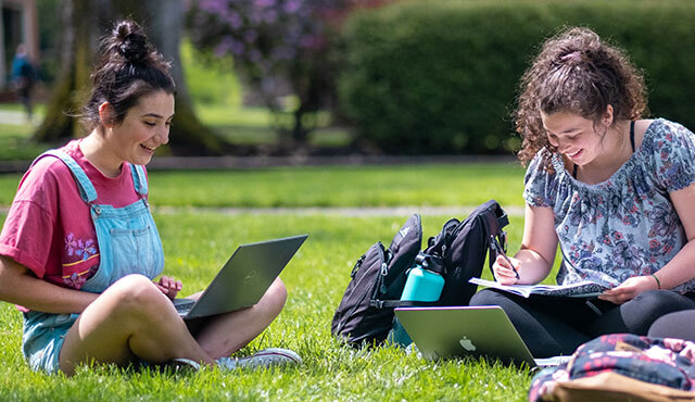 SPU students studying on campus | photo by Chris Yang