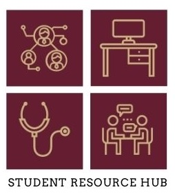 Student Resources Hub four gold icons with maroon background - desk, people talking, stethoscope, people connected