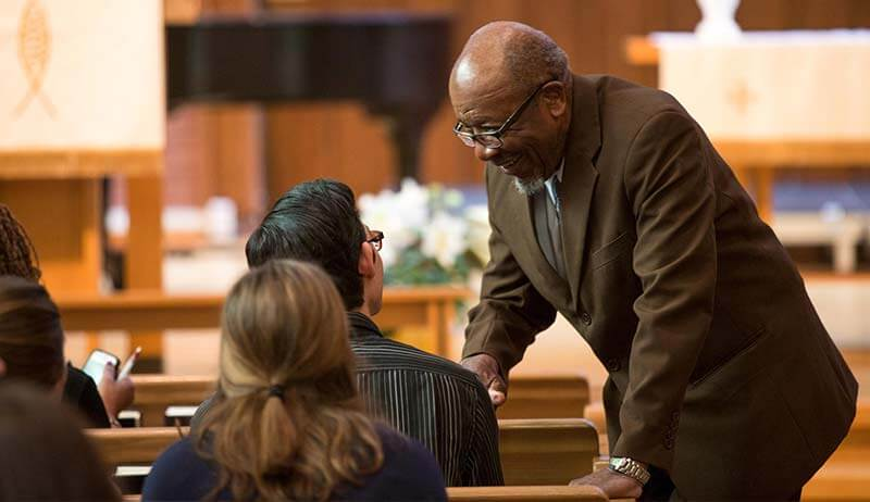 John Perkins talks to SPU students