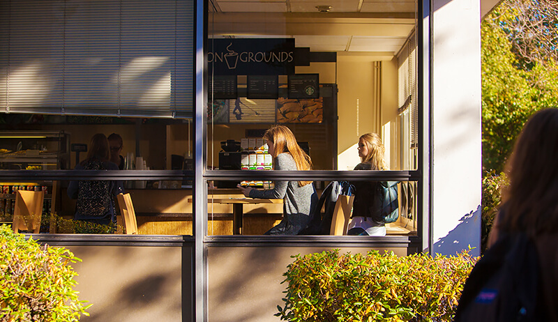 A photo of a window, with a woman sitting inside surrounded by a Coffee shop, Common Grounds