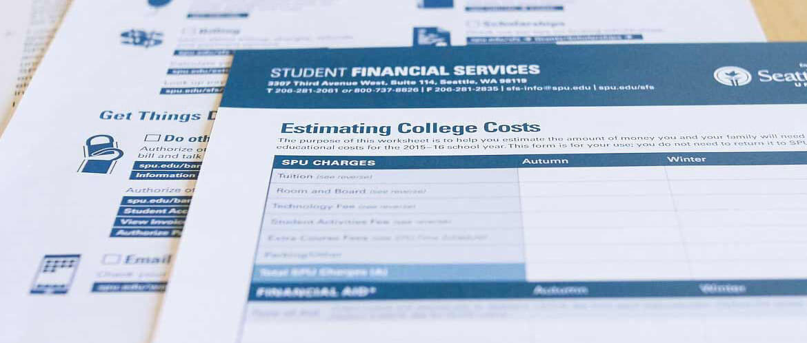 Estimating your college costs worksheet, included in your Undergrad packet