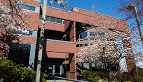 McKenna Hall School of Business, Government, and Economics in the spring