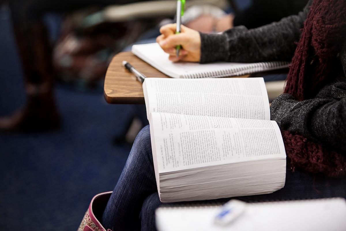 Student studying Bible