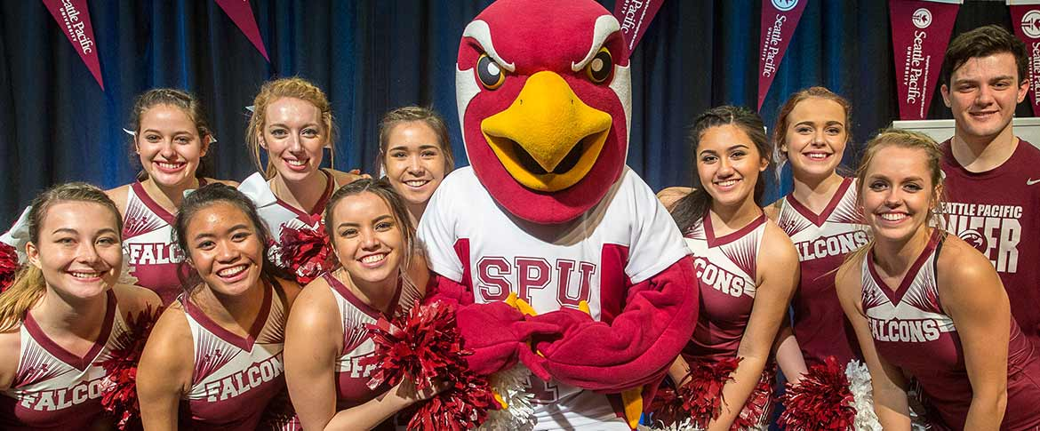 Talon the Falcon surrounded by SPU's cheer squad