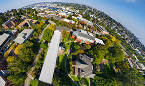 The Seattle Pacific University campus in a 360 circular globe