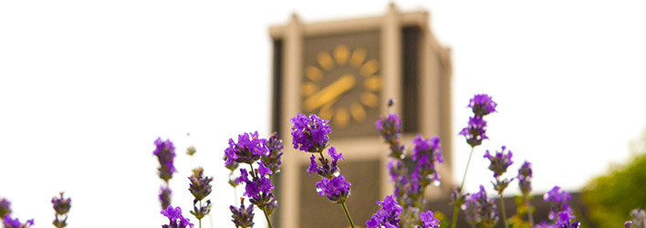 Flowers in front of SPU's Clock Tower