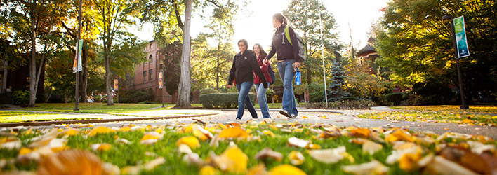 Students walking through Tiffany Loop at Seattle Pacific University.