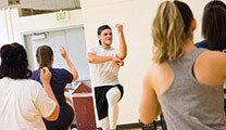 An SPU student leads an intramural Zumba class