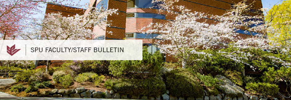 SPU Faculty/Staff Bulletin: Cherry Blossoms against McKenna Hall