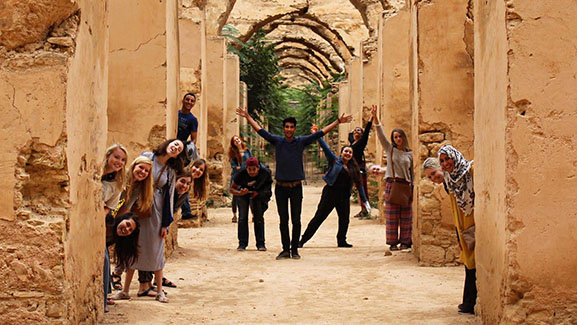 SPU students clowning around in Morocco