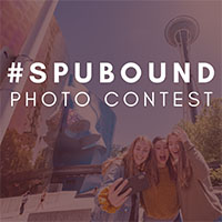 SPU bound photo contest - SPU students in front of the Space Needle