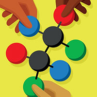 An illustration of hands taking a hold of a model of a molecule. The hands each have different skin tones