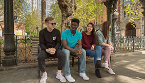 SPU students hang out in Pioneer Square, Seattle