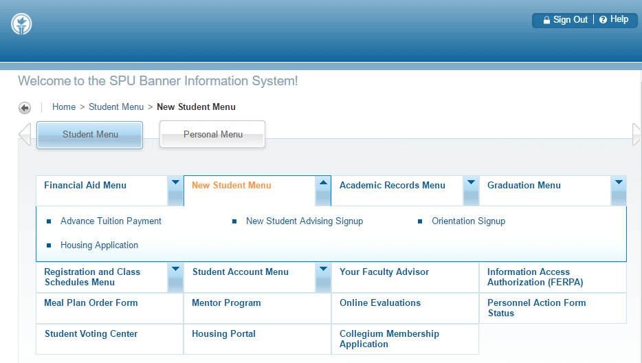 Step 2: Select New Student Menu tab from Student Menu section