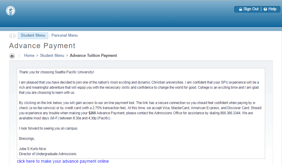 Step 3: Select Advance Tuition Payment, then click to make online payment