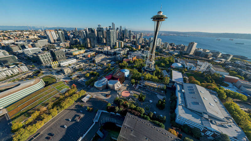 aerial view of downtown Seattle