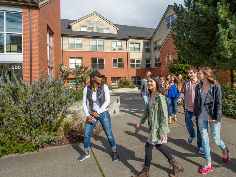 Students touring the campus