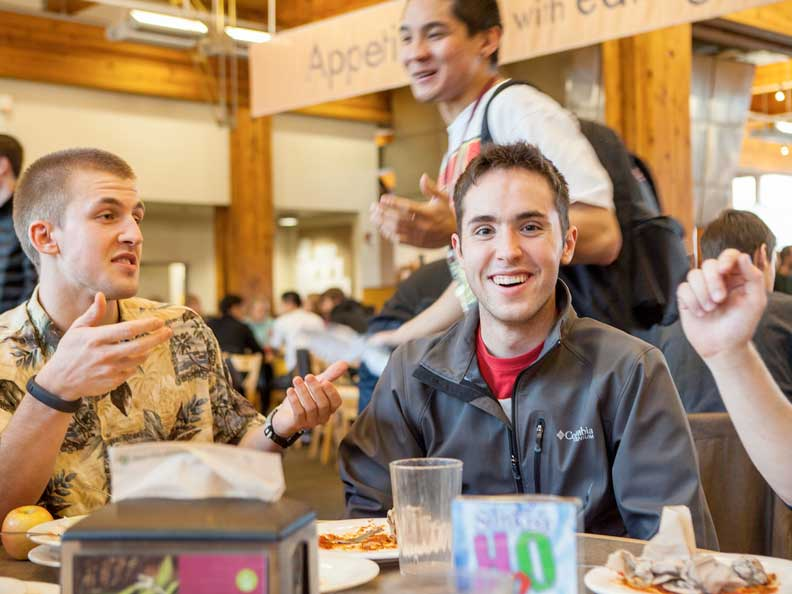 Students dining in Gwinn