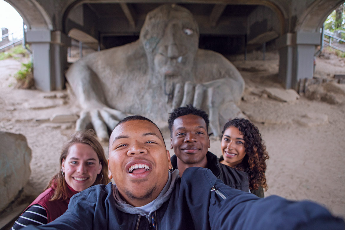 Students in front of the Fremont Troll