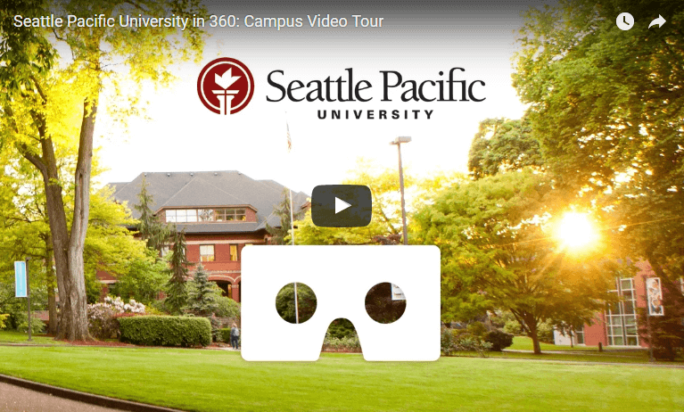 Campus view with play button overlay