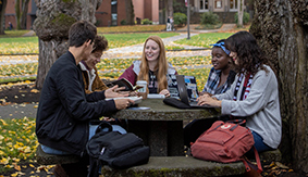 SPU Students studying in Tiffany Loop